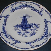 "Pair of Delph Plates, 10 1/2"", Sail Boats, English, CA 1890"