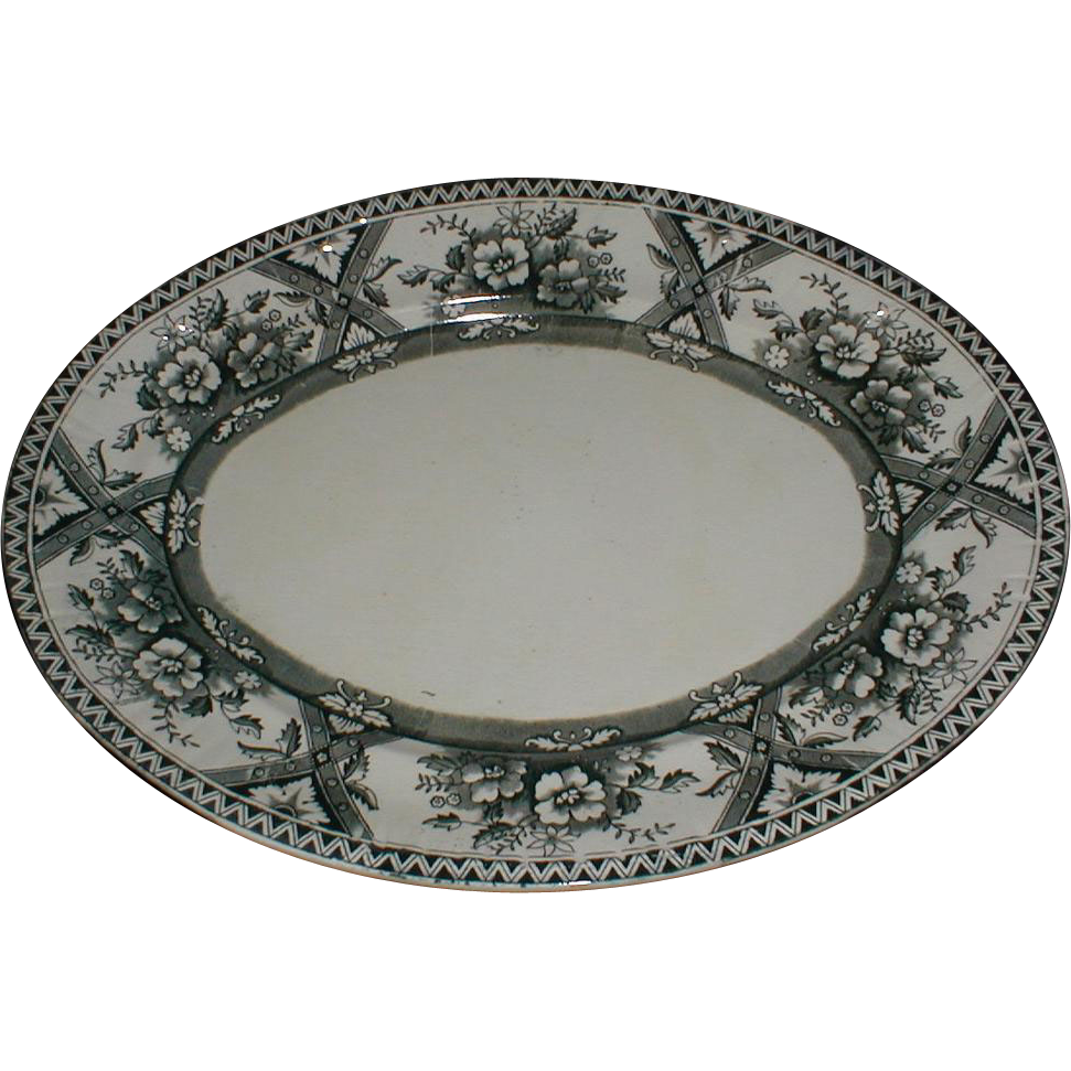 Lovely Large Oval Black Transferware Platter, MIKADO, English