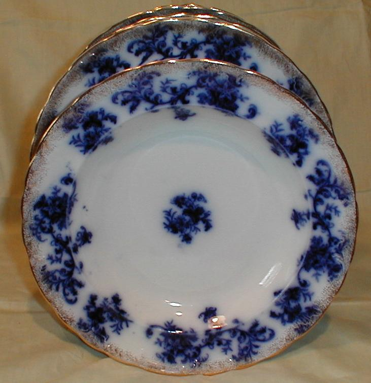Lovely Flow Blue Soup Plate w/Sponge Gold DUNBARTON New Wharf Pottery