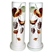 Lovely Pair of Bristol Vases, Frosted and Painted with Grapes