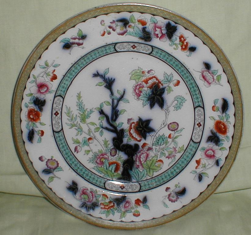 Lovely Early Oriental Design Plate, English, Flow Blue Underglaze, Enamel Over