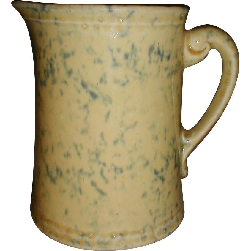 Fantastic Yellow Ware Sponge Decorated Milk Pitcher