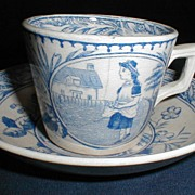 Lovely Blue Transferware Child's Cup & Saucer Allerton May w/Apron