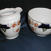Lovely Bone China Sugar Bowl & Creamer, Flow Blue with Flowers, England