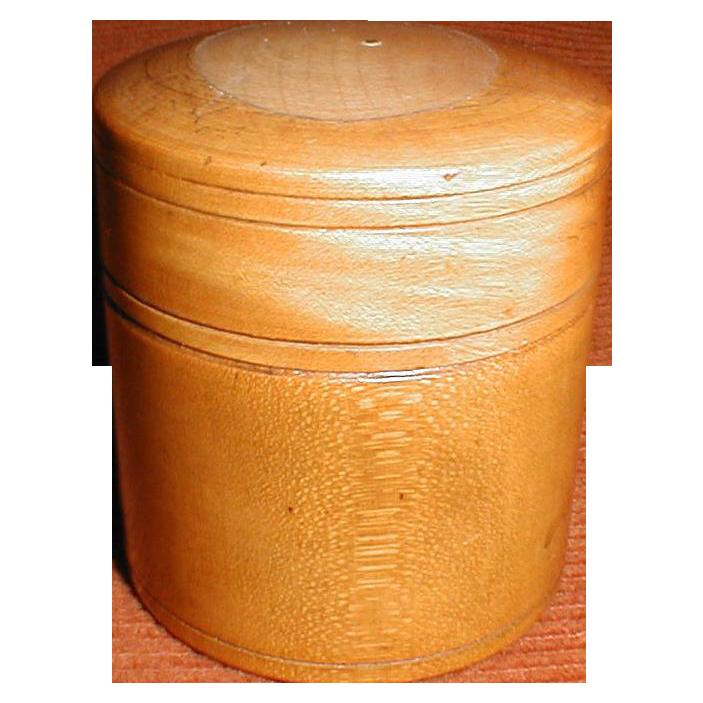 Small Wood Round Box, Treen, Lovely Patina, 1884