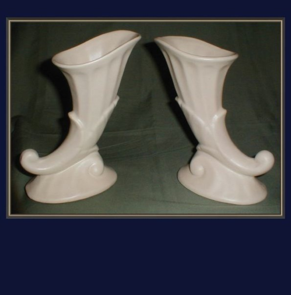 Pair of Mat White Pottery Vases, Cornucopia RUMRILL