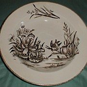 Lovely Brown Transferware Soup Plate, AMAZON, C & H England 1886-9