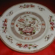 Lovely Enameled Brown Transferware Cake Plate, Oriental Design, TILL