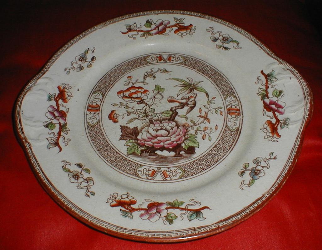 Lovely Enameled Brown Transferware Cake Plate, Oriental Design, TILL