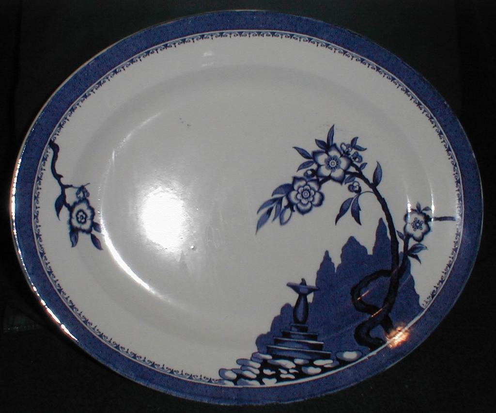 Lovely but Unusual Blue Printed Platter, Hampton, Burleigh Ware England