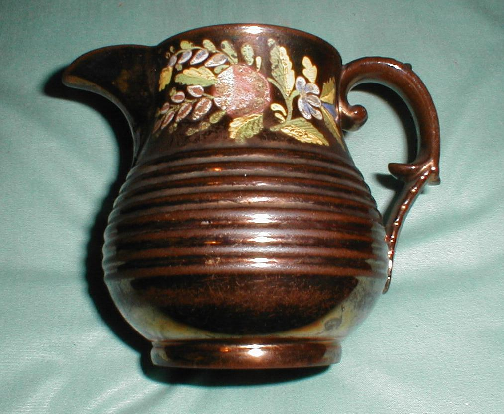 Lovely Enameled Copper Lustre Pitcher
