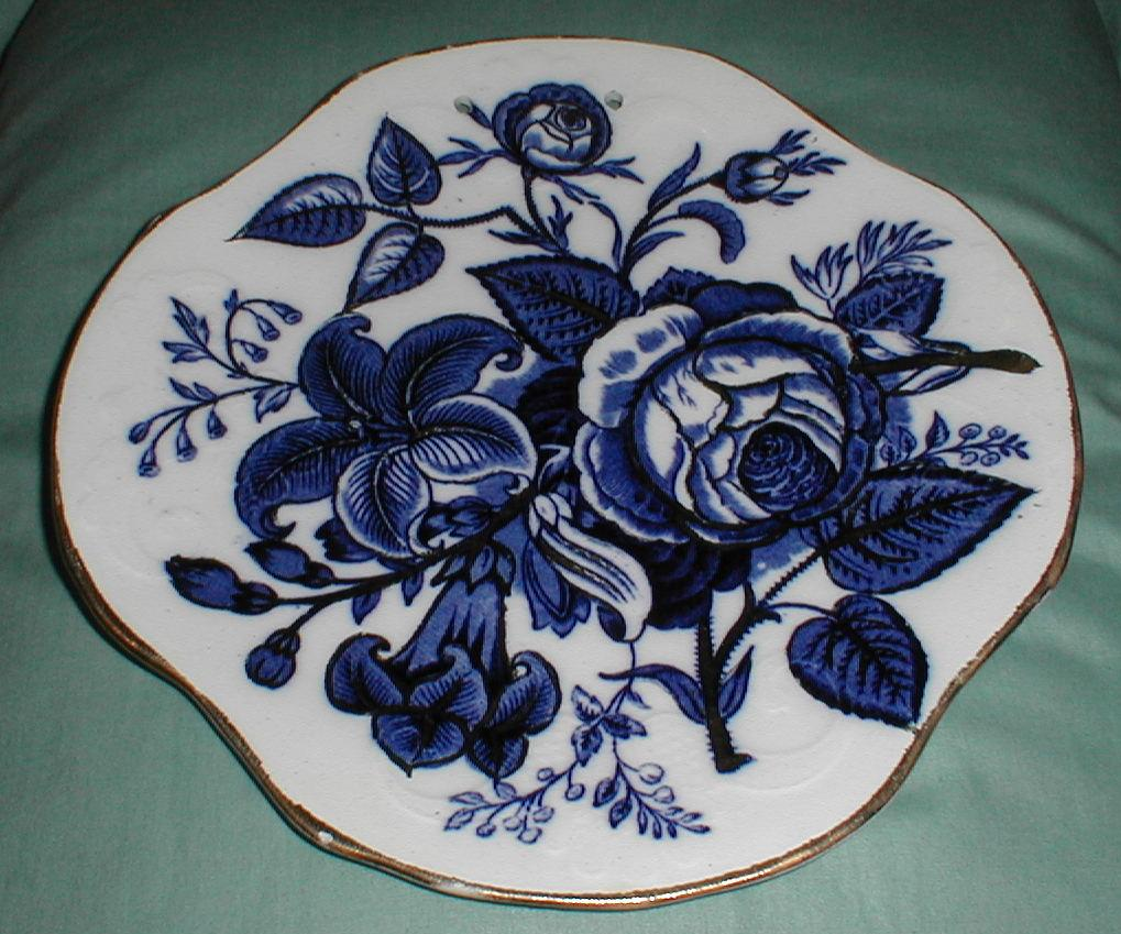 Lovely Wall Plate, Gilded Flow Blue LILY & ROSE D-L Co.