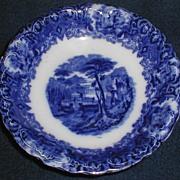 Lovely Flow Blue Romantic Landscape Transfer Printed Bowl, English