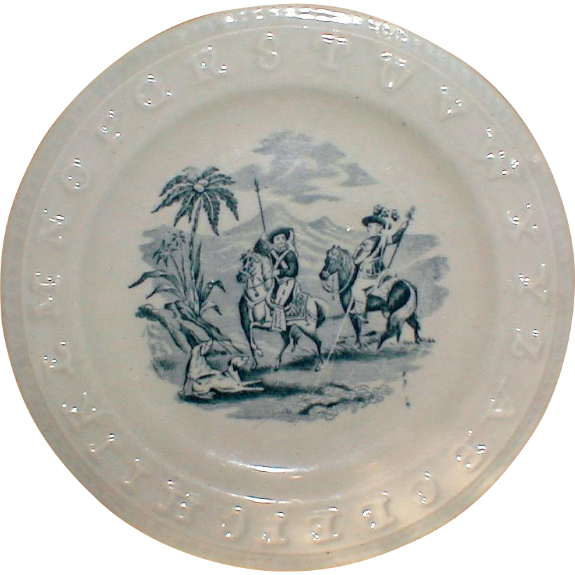 Blue Transferware ABC Plate, 1860's, Charles Allerton