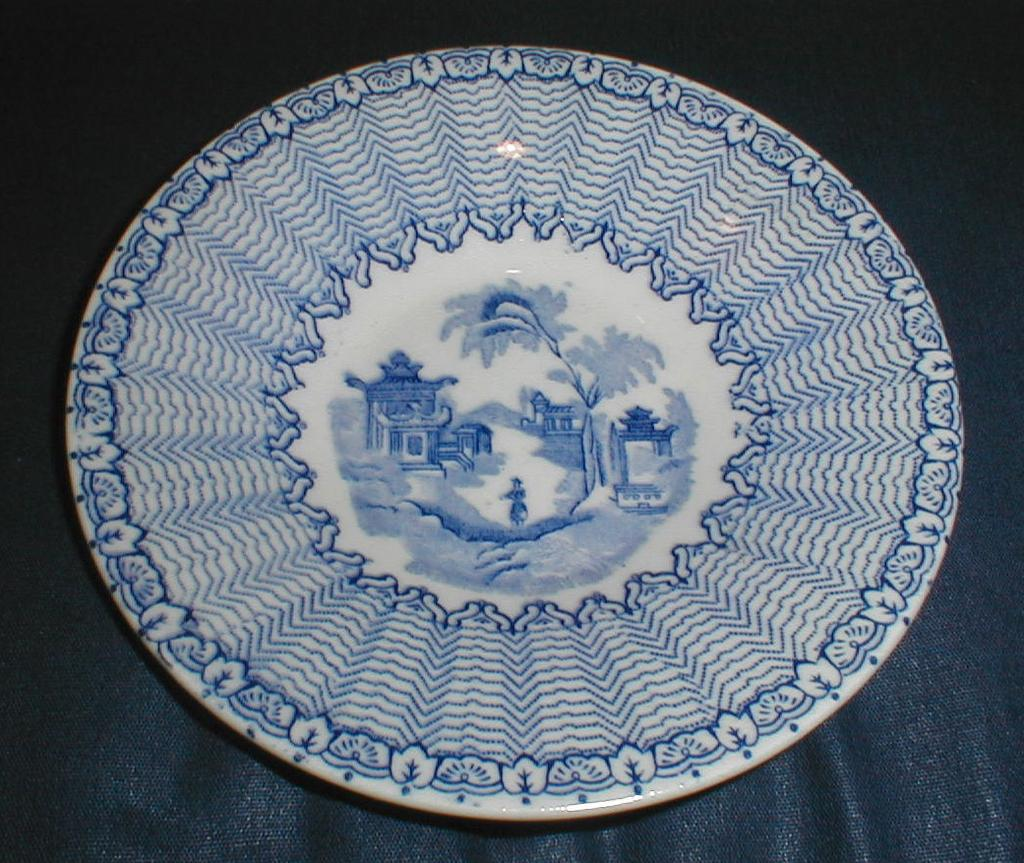 Child's Blue Transferware Plate, Oriental Scene Combed Feather Edge