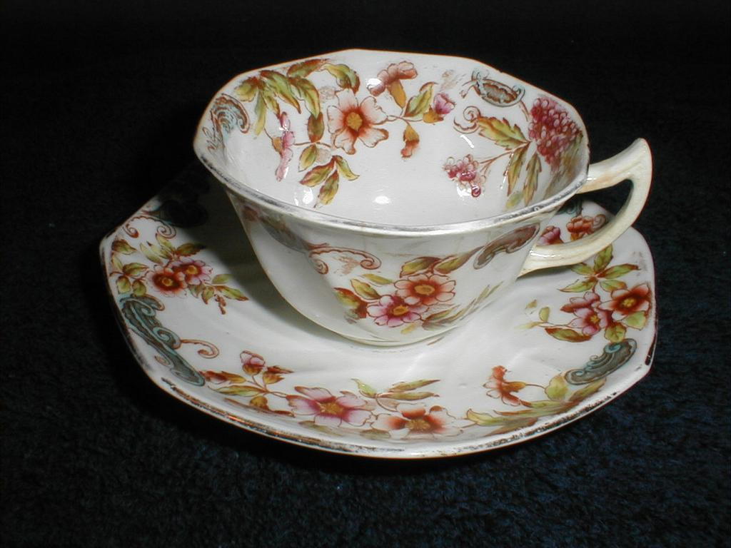 Lovely Early English Cup & Saucer, Floral, IDRIS, C & H