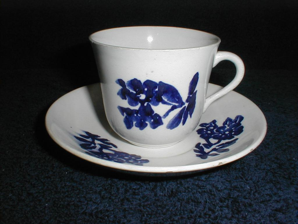 Lovely Blue on White Stick Spatter or Sponge Printed Cup & Saucer, English