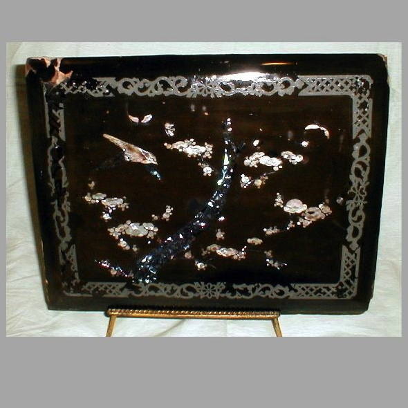 Victorian Papier Mache Panel with Mother-of-Pearl and Abalone Shell Inlay