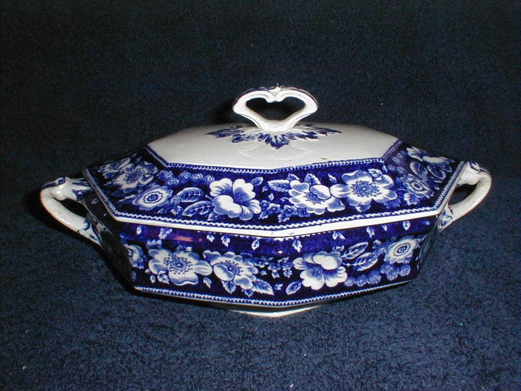 Lovely Flow Blue Vegetable Bowl with Lid, Floral Border, Unidentified