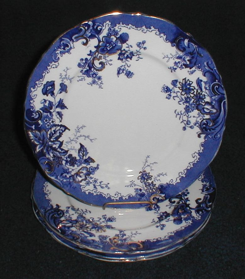 Lovely Gilded Blue Printed Plate, Empire Porcelain Co. 1896-1912