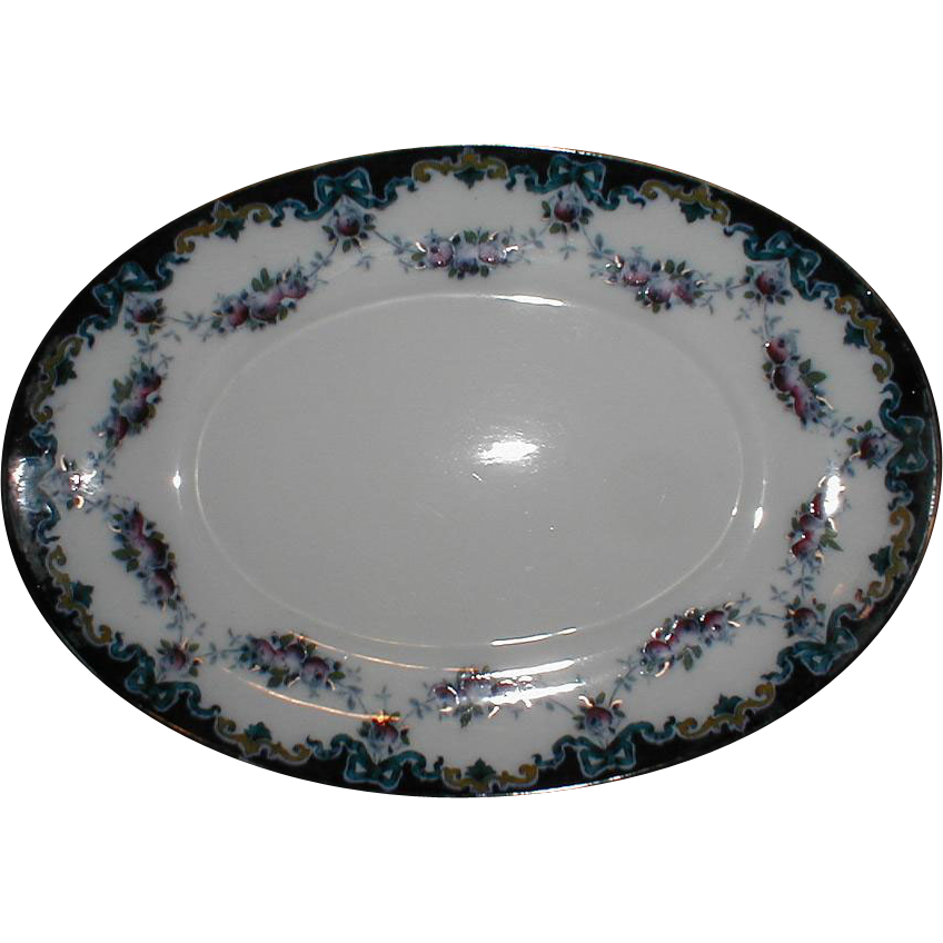 Lovely Dark Cobalt Blue Border Tray or Platter, GARLAND, Albion Pottery, England