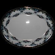 Small Oval Platter Cobalt Blue Rim, Enamel, GARLAND, Albion Pottery 1912