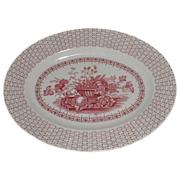 Lovely Red Transferware Oval Platter BEVERLEY Empire England