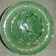 Lovely Green English Majolica Plate, Not Marked
