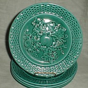 English Green Majolica Plate, Fruit & Basketweave (4 Available)