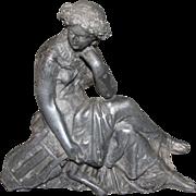 Lovely Antique Spelter Molded Sculpture (Statue) - Female Thinker