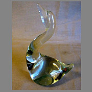 Lovely Vintage Clear Art Glass Swan