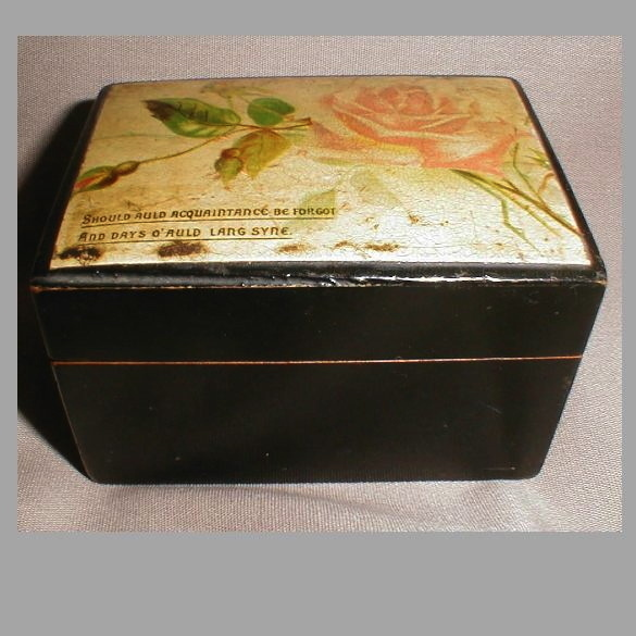 Small Black Lacquer Sewing Notion Box, Clark's Anchor