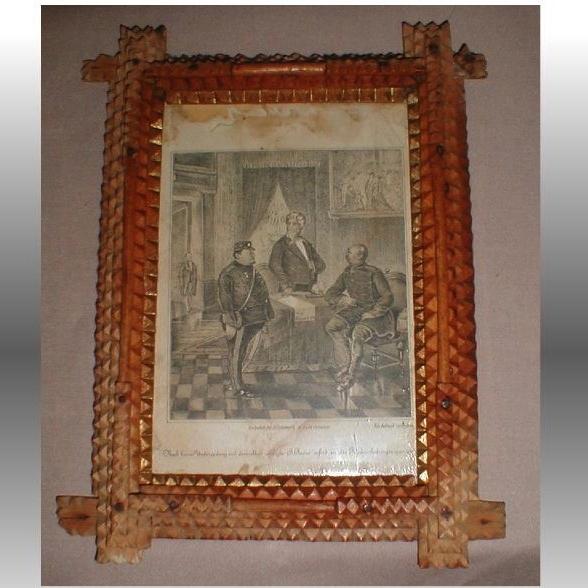 Antique Tramp Art Frame, German Print