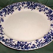 Lovely Large Blue Printed Platter KANDY Stoke Pottery 1900