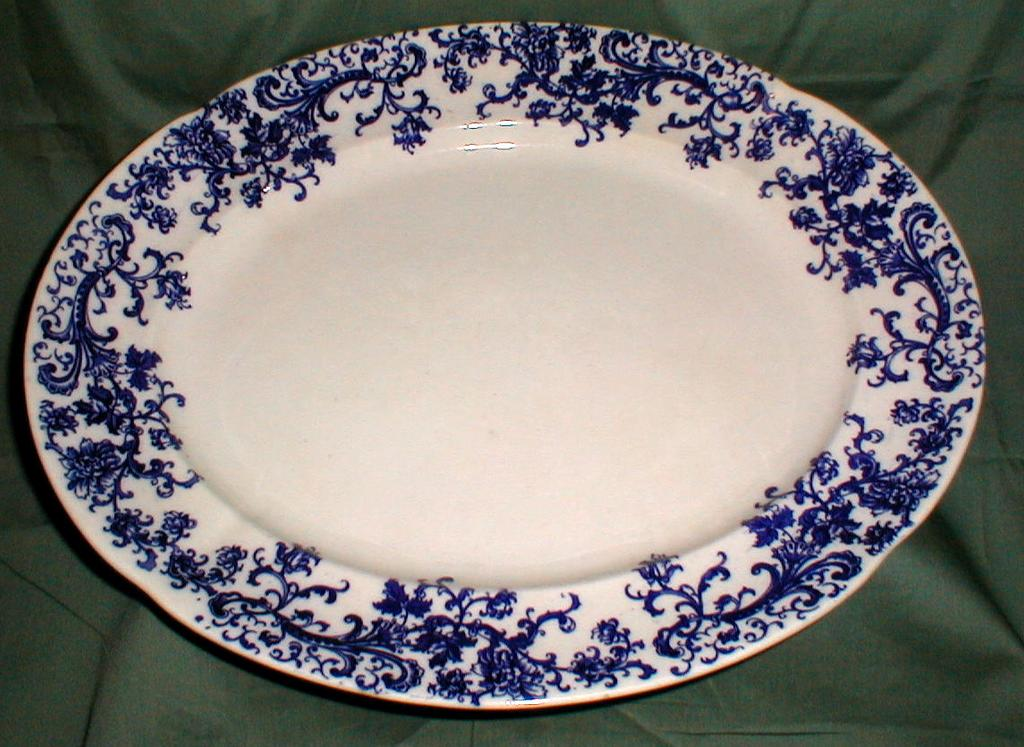 Lovely Large Blue Printed Platter KANDY Stoke Pottery 1900