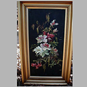Lovely Framed Antique Colorful Floral Oil Painting