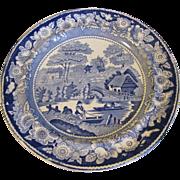 Antique Wild Rose Blue Transferware Dinner Plate, Edge, Malkin