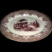 Large Brown Transferware Platter, Romantic Scene