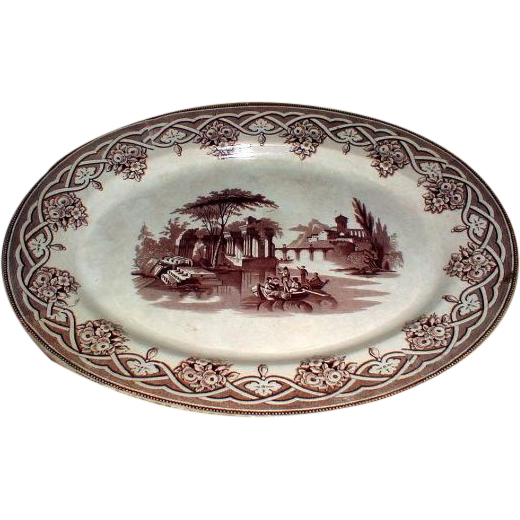 Large Brown Transferware Platter, Romantic Scene