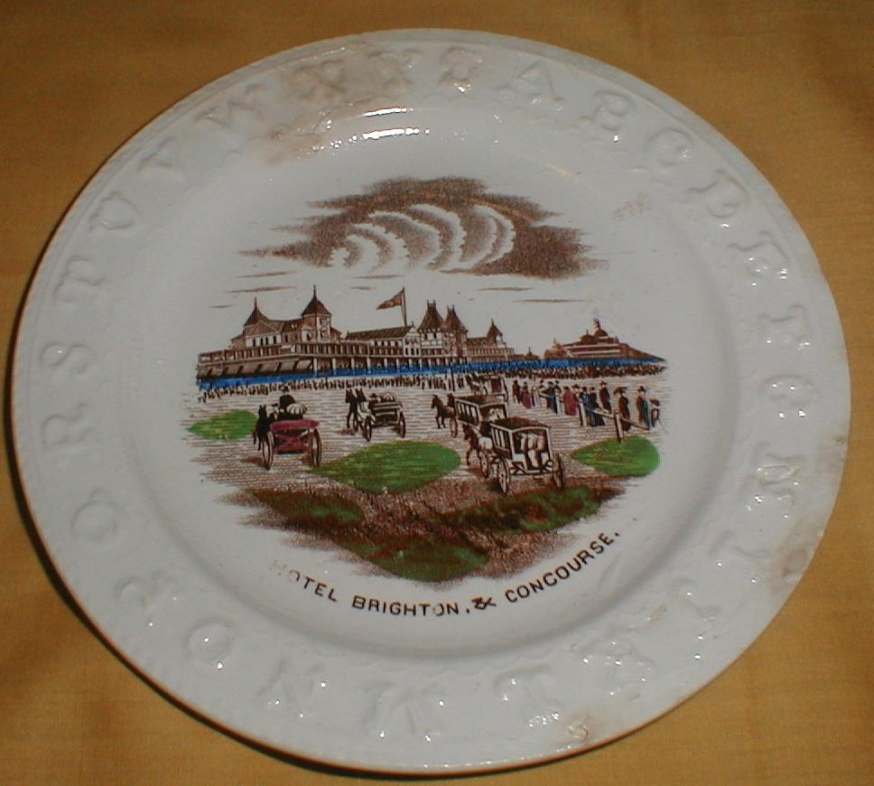 Early Staffordshire Brown Transfer ABC Plate HOTEL BRIGHTON