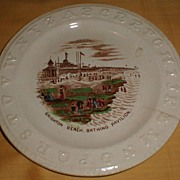 Early Staffordshire Brown Transfer ABC Plate BRIGHTON BEACH