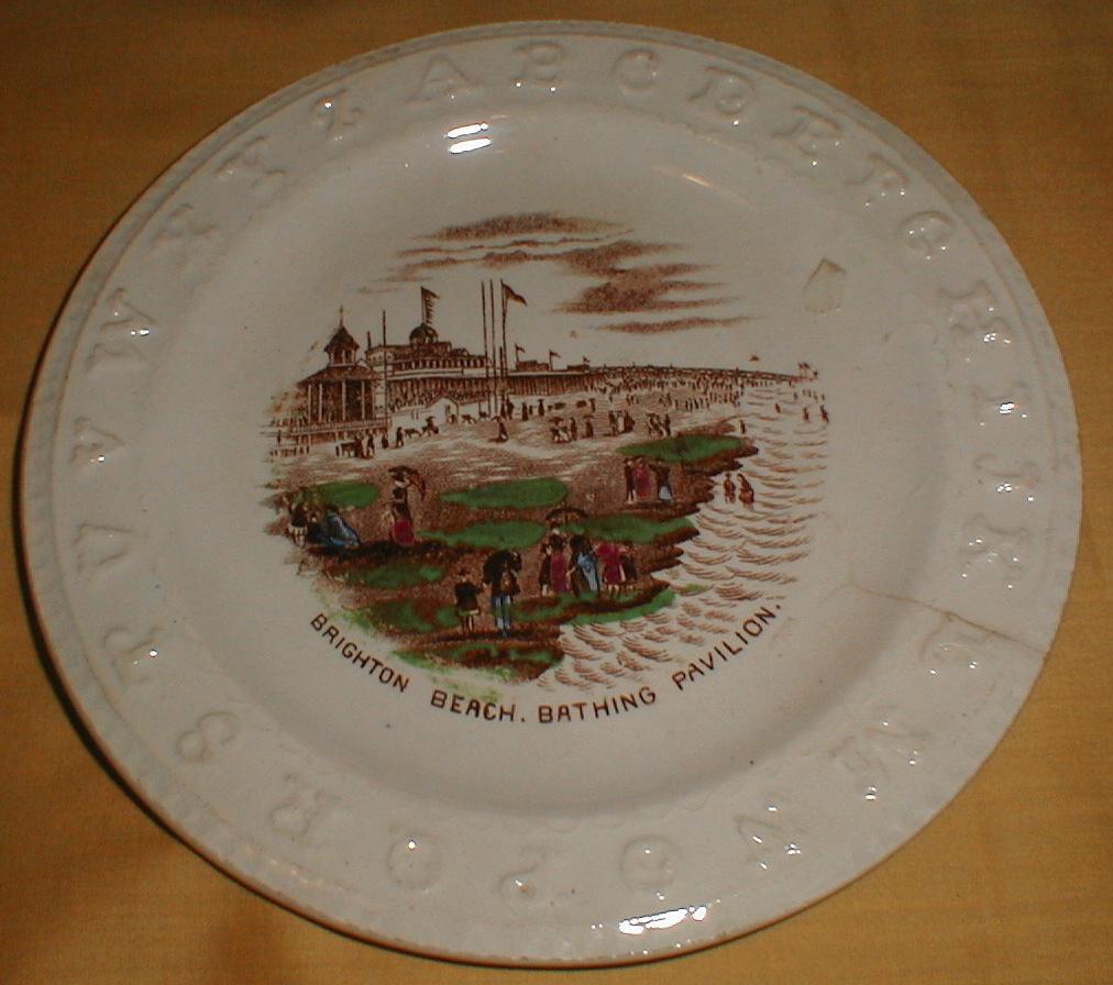 Early Staffordshire Brown Transfer ABC Plate BRIGHTON BEACH