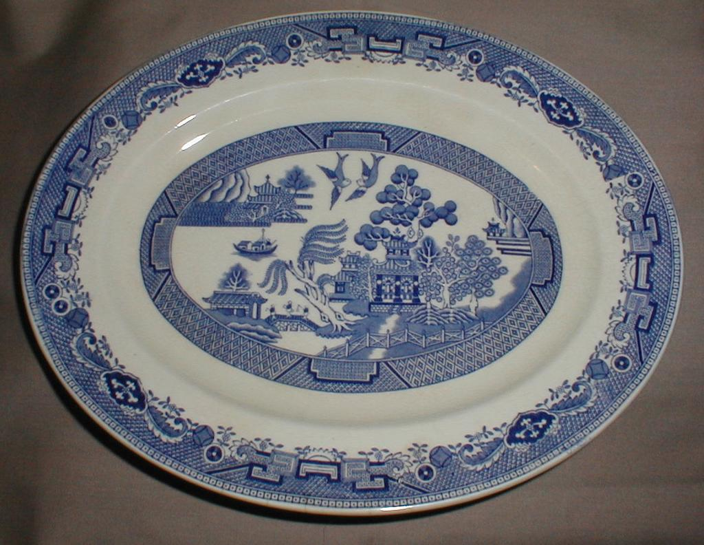 Small Oval Blue Willow Platter, English, Bridgwood