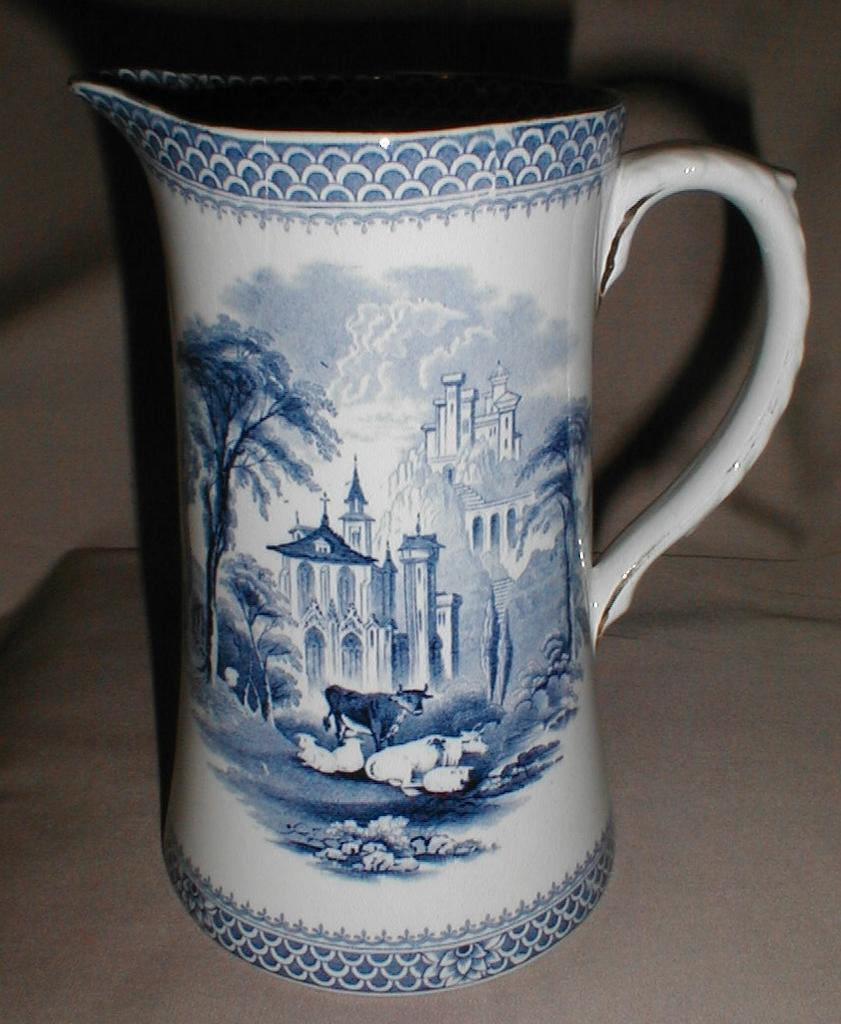 Blue Transferware Milk Pitcher, Englilsh Countryside
