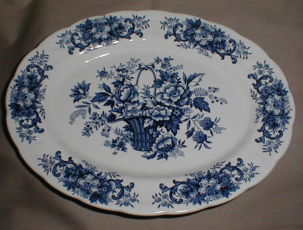 Lovely Blue Printed Platter, Old English Bouquet, Ridgway