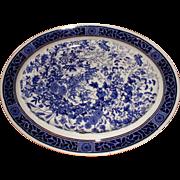 Large Blue Printed Platter, Botanical Design, ARCADIA, BWM