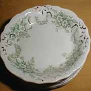 Lovely Green Transferware Butter Pat, NELSON, New Wharf Pottery