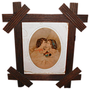 Very Nice Victorian Criss-Cross Wood Frame w/Chromolithograph