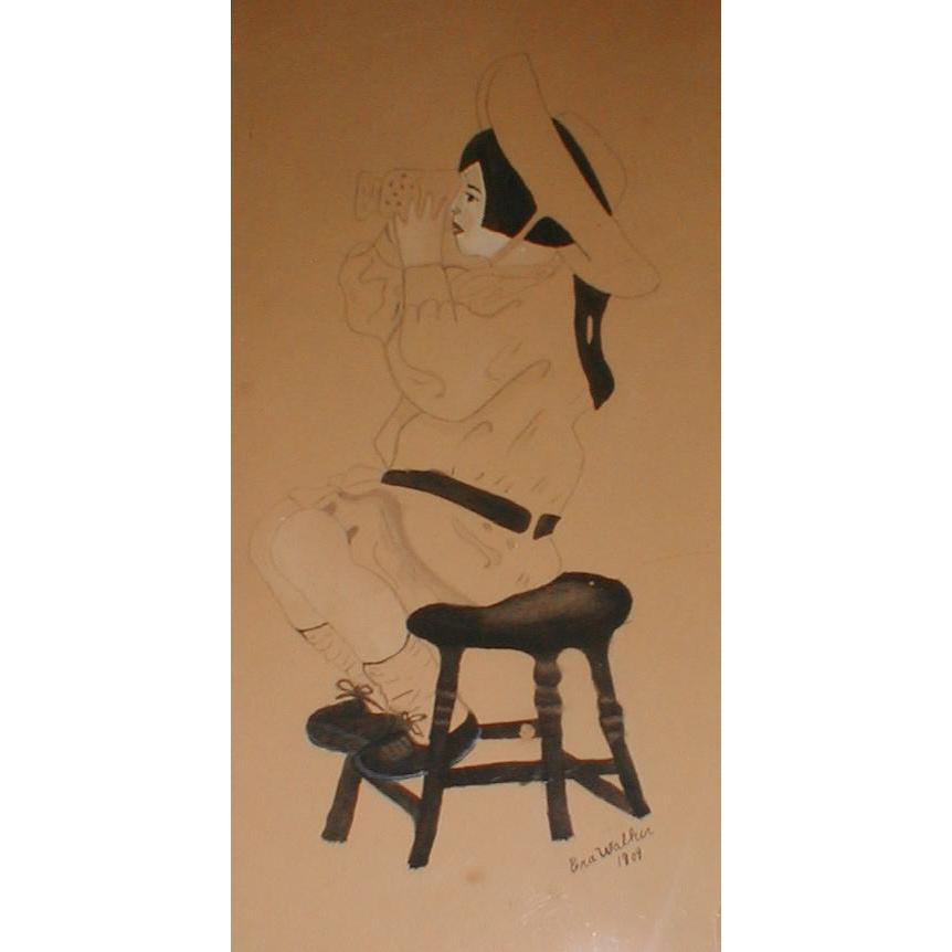 Great Find!  Antique Folk Art Pen & Ink Drawing Framed