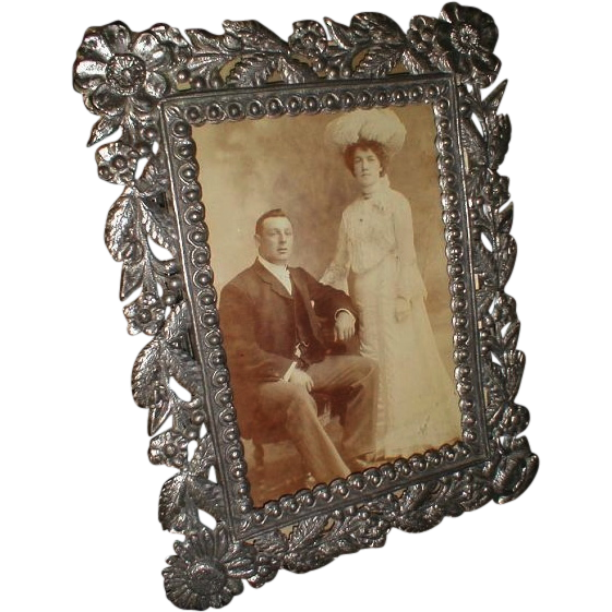 Gray Metal, Cast, Photograph Frame, Cabinet Photo, ca 1895